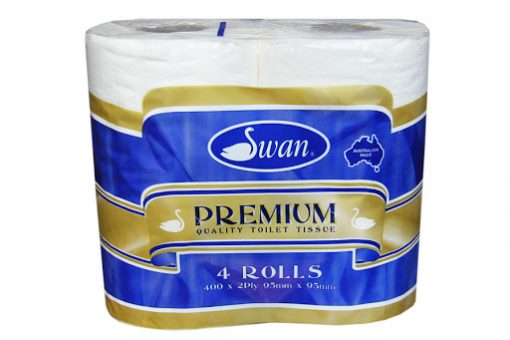 Swan Premium Toilet Paper 2ply 400 Sheets x 12 bags of 4 (48 rolls)